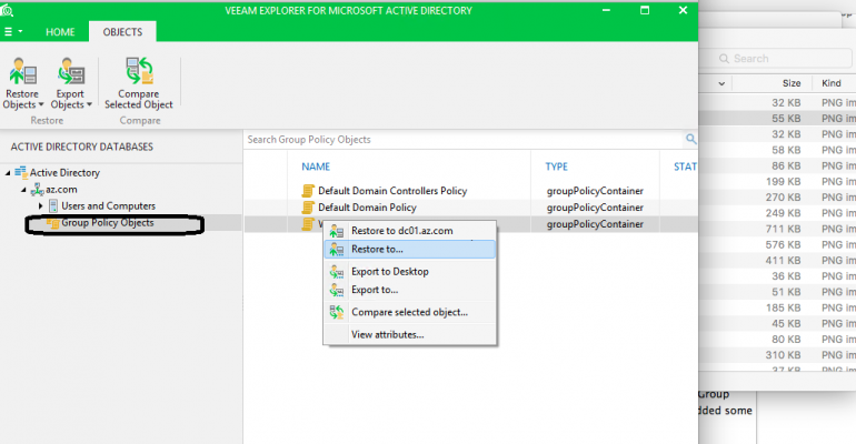 Veeam screen shot: Group Policy Objects