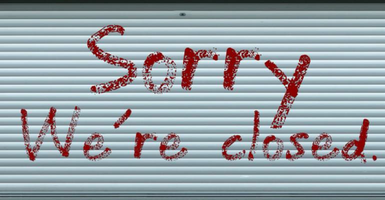 Storefront door Sorry We're Closed