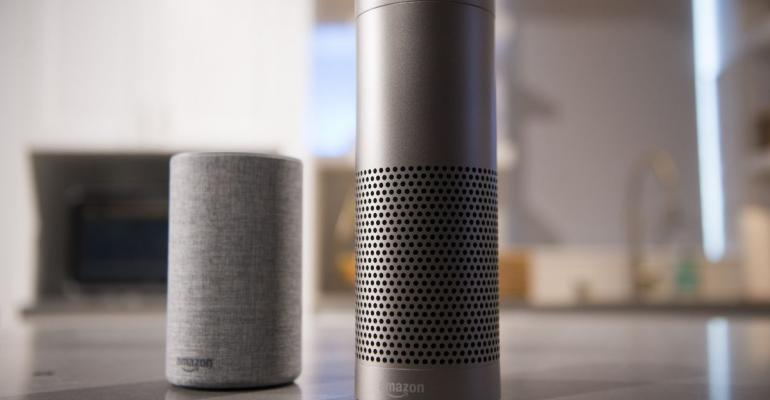 A shot of Amazon's home speakers