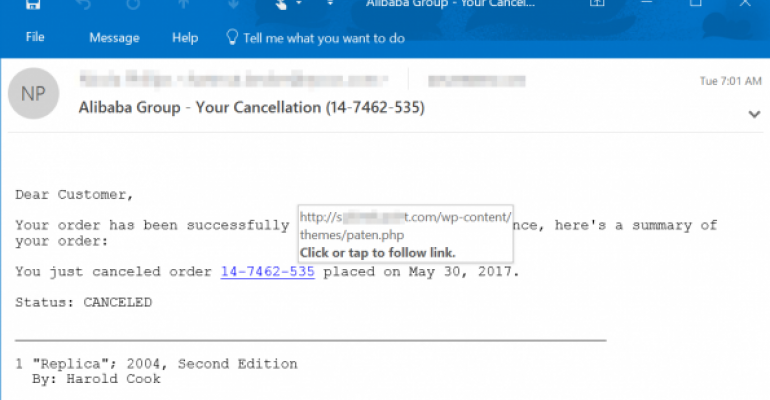 An example of a tech support scam email
