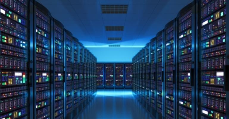 Server room under blue lights