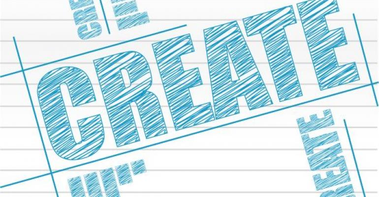 create written in blue ink on white lined paper