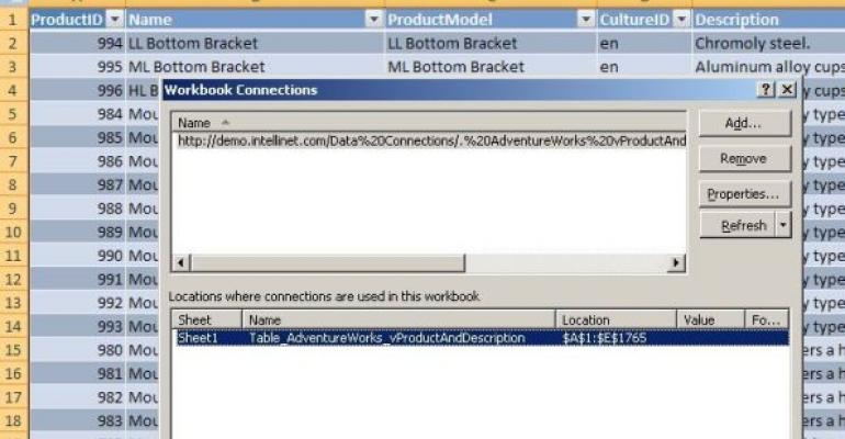 Microsoft Excel Workbook Connections screenshot