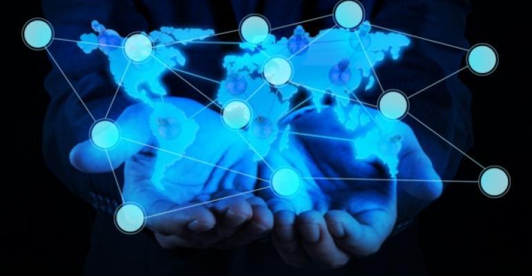 hands beneath virtual social network in neon light