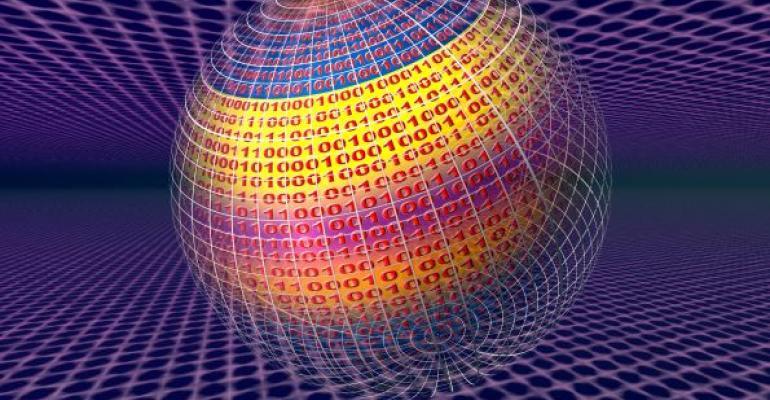 illustration of virtual data on globe