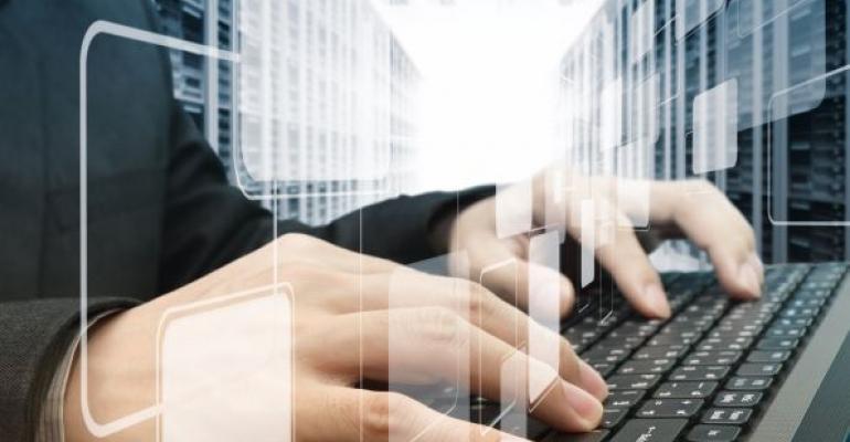 hands on black keyboard virtual tiles floating above