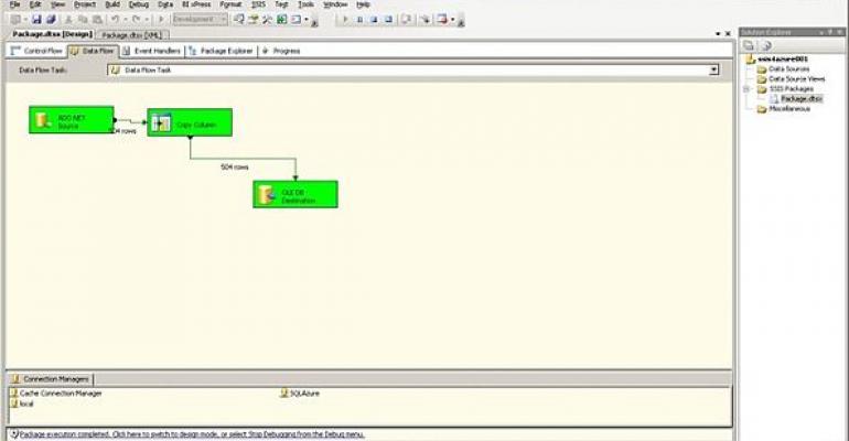 SQL Azure screenshot