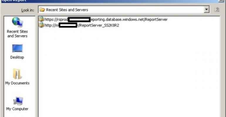 SQL Server Open Report screenshot