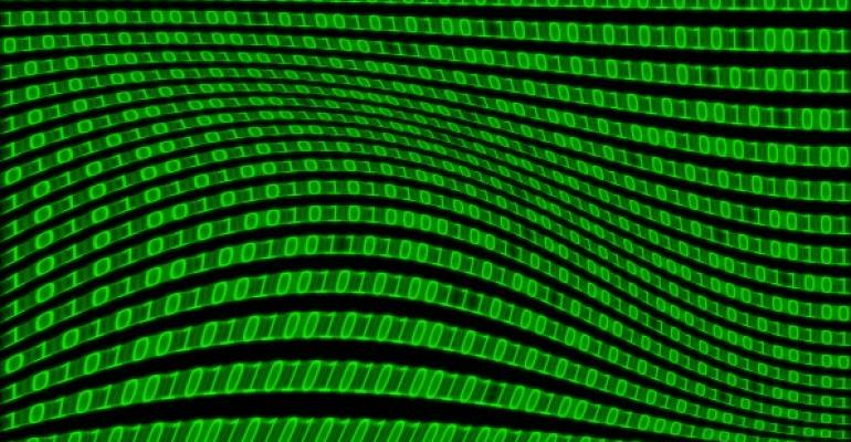 green binary code with a bubblelike shape