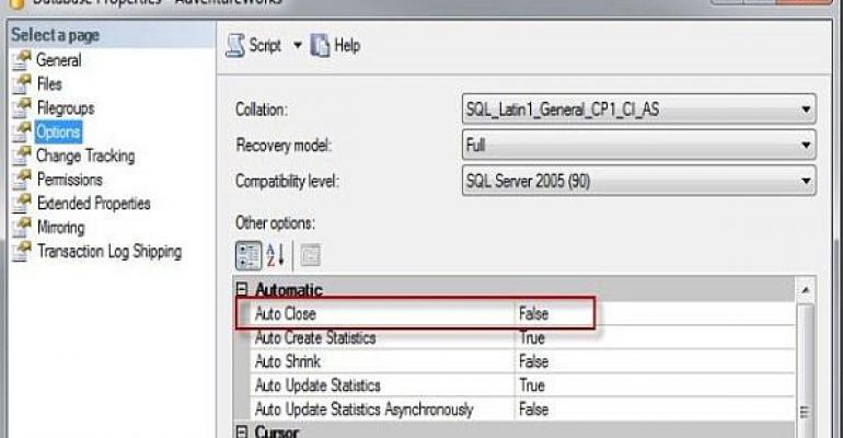 Microsoft SQL Server Database Properties Auto Close screenshot