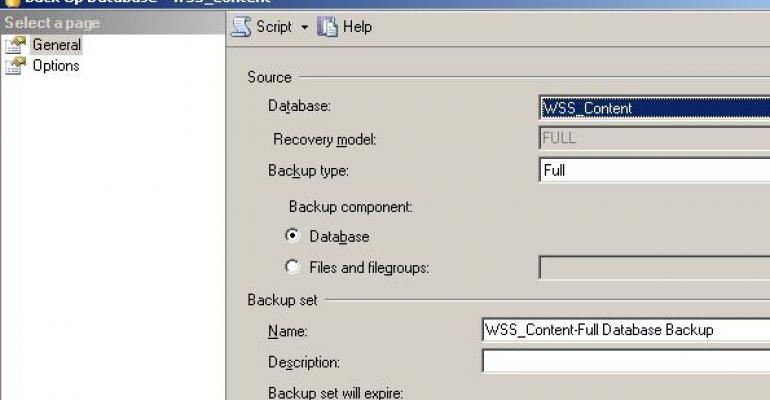 Back Up Database  WSSContent screen shot