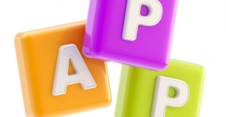 Three letter blocks spelling out APP