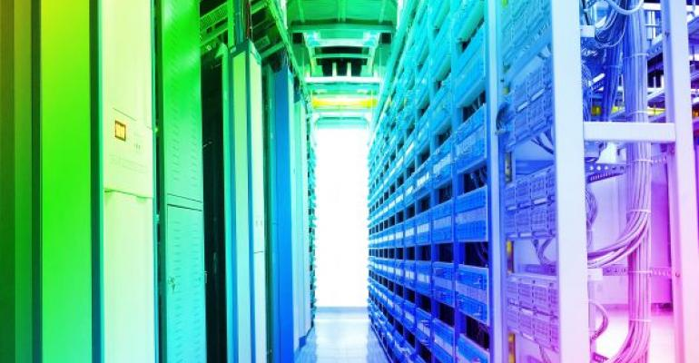 data center in green blue and pink lights