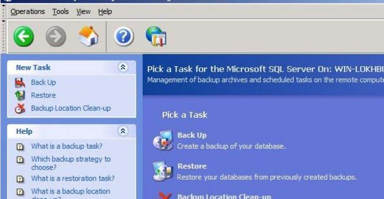 Acronis Recovery for MS SQL Server Management Console screenshot