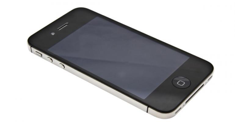 black iPhone laying on white background