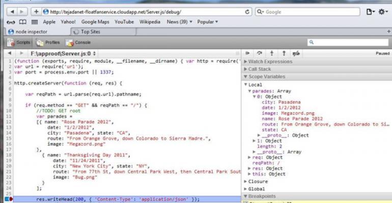 Enabling a Node.js Server-Side App on Windows Azure