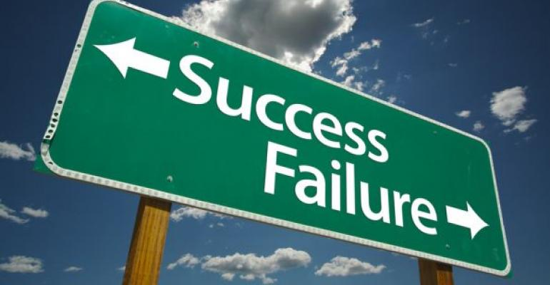 road sign pointing to success and failure