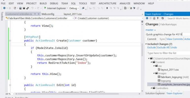 Microsoft Visual Studio 2012 screenshot