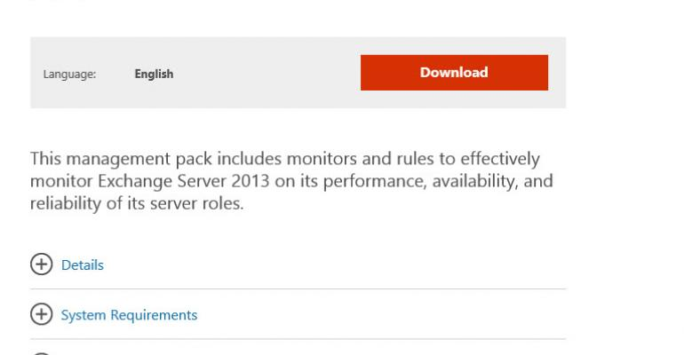 Management Pack for Exchange 2013 Released