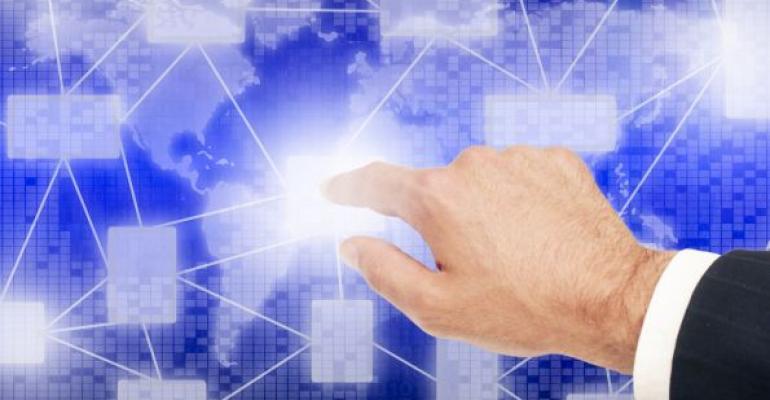 man touching virtual screen