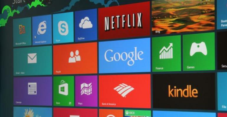 Microsoft Windows 8 Start screen with colorful square tiles