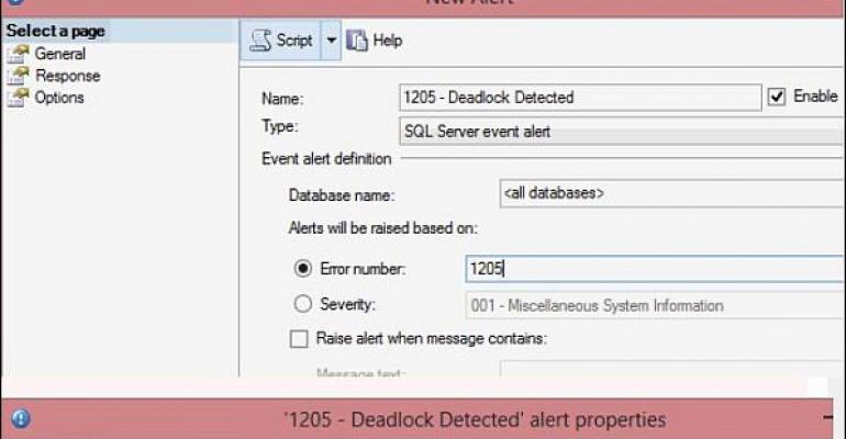 SQL Server Managment Studio alerts