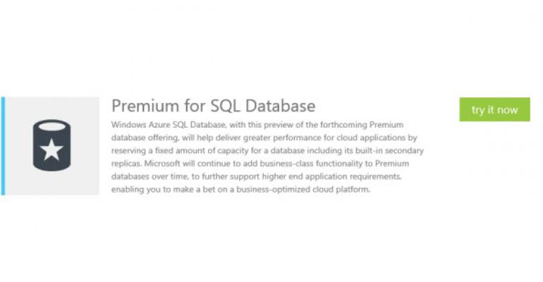 Premium SQL Database for Windows Azure Preview Available Now
