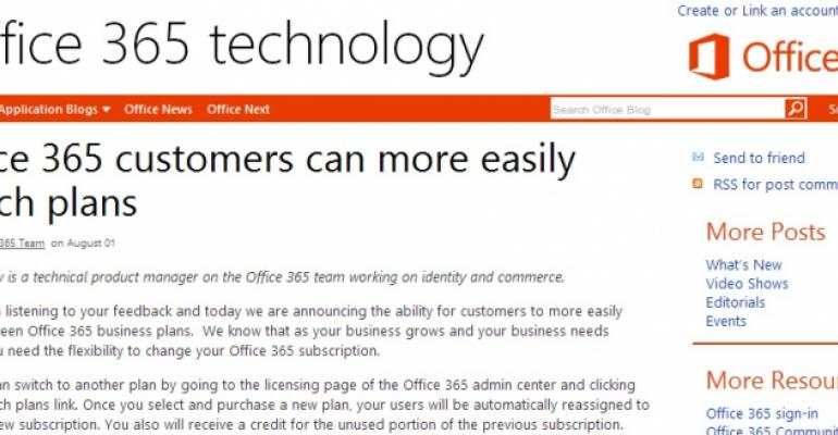 """Switching Office 365 plans more easily confirms growing maturity of """"the service"""""""