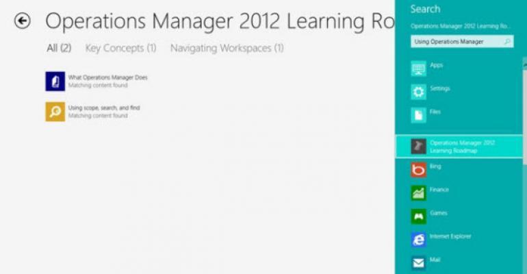 Free OpsMgr 2012 Training App for Windows 8