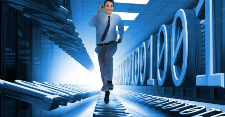 man sprinting through datacenter