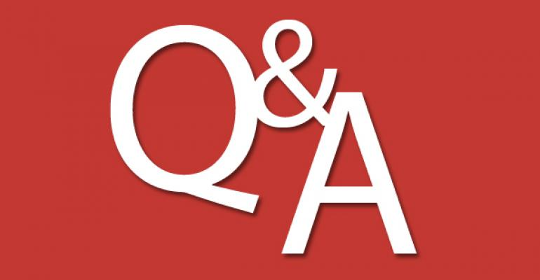 White letters Q  A imposed over red background