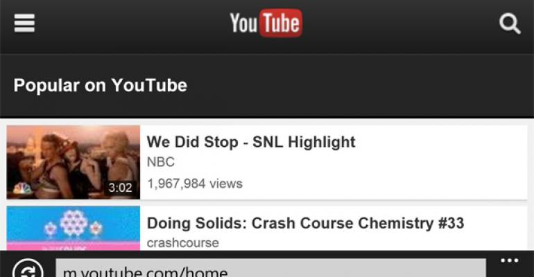 Microsoft Capitulates on YouTube App for Windows Phone
