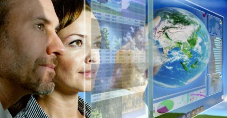 man and woman analyzing data on virtual screen