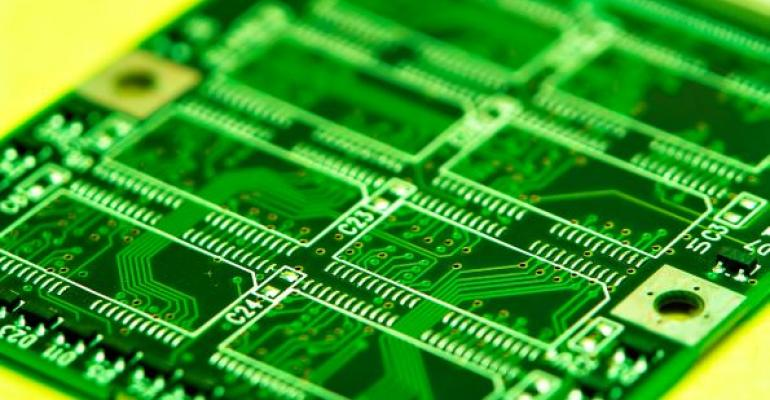 green computer memory board on yellow background