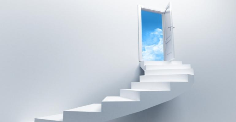 white stairs without rail leading to open white door blue sky through door