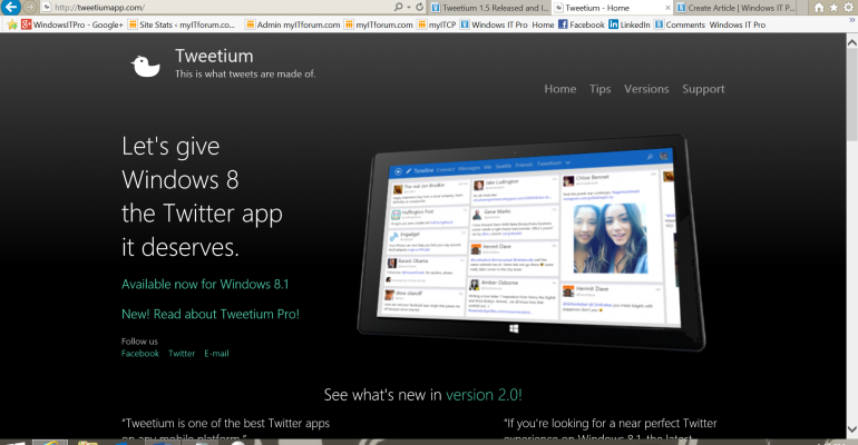 Tweetium for Windows 8.1 Catchup