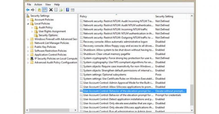 Changing UAC Behavior for Windows Server 2012 R2 and Windows 8.1
