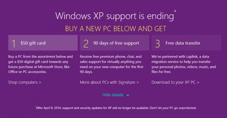 Ditch Windows XP and Get $50, 90 Days Free Support, and Free Data Transfer