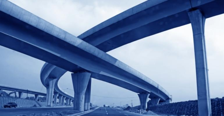 highway overpasses tinted blue