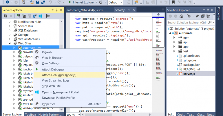 Nodejs Tools for Visual Studio 10 Beta are now available