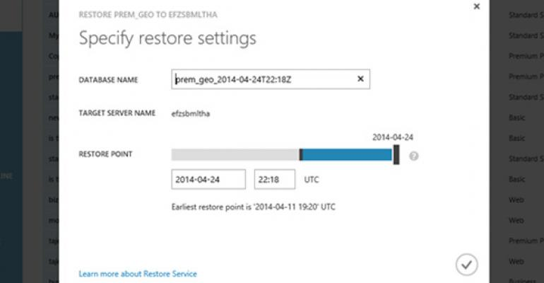 Service-Service Restore Support in Azure SQL Database