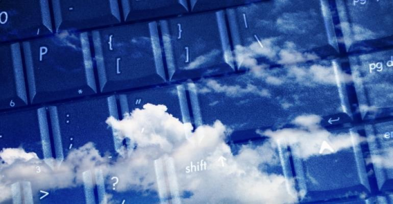 computer keyboard in the clouds