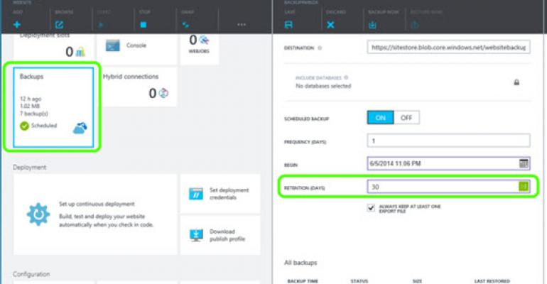Azure Web Sites Backup and Restore Hits General Availability