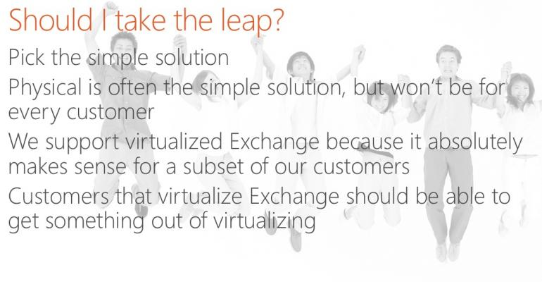 "Is Microsoft really saying ""don't virtualize"" Exchange?"