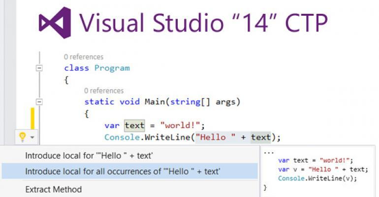 "Microsoft Delivers First Visual Studio ""14"" CTP"