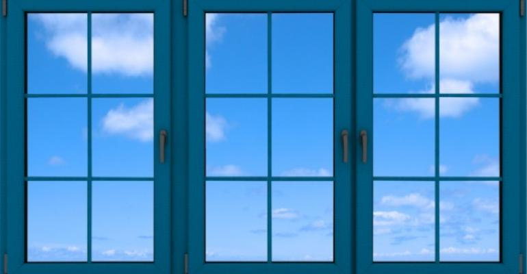 azure blue windows with clouds
