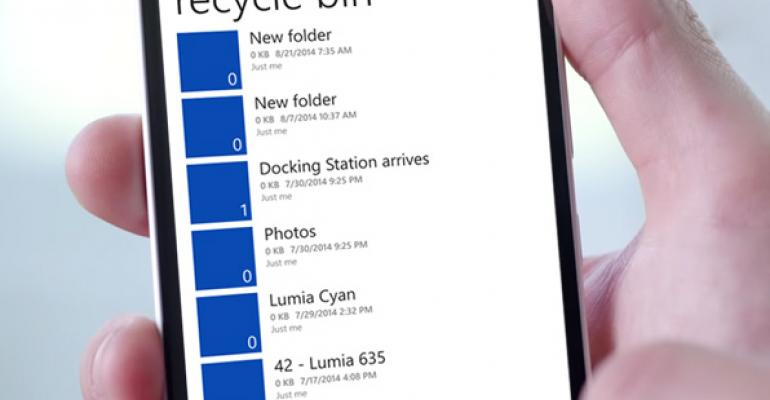 OneDrive for Windows Phone Gains Recycle Bin Access