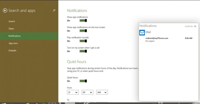 Action Center (Notifications) in Windows 10 Build 9860