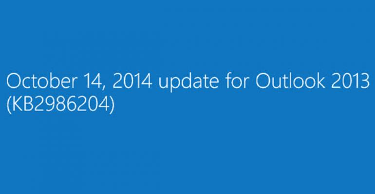 Outlook 2013 October Update Brings a Minor Change to Make Self-service Recovery Easier
