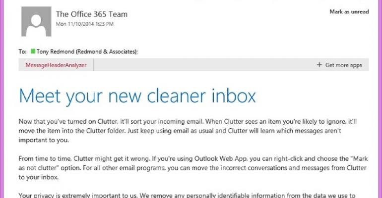 Clutter arrives to impose order on Office 365 mailboxes